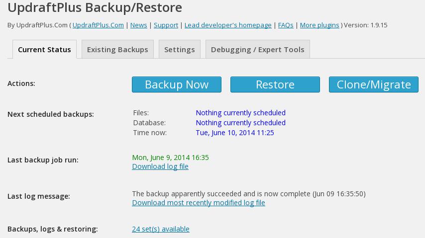 current_status_updraftplus_backup_and_restoration